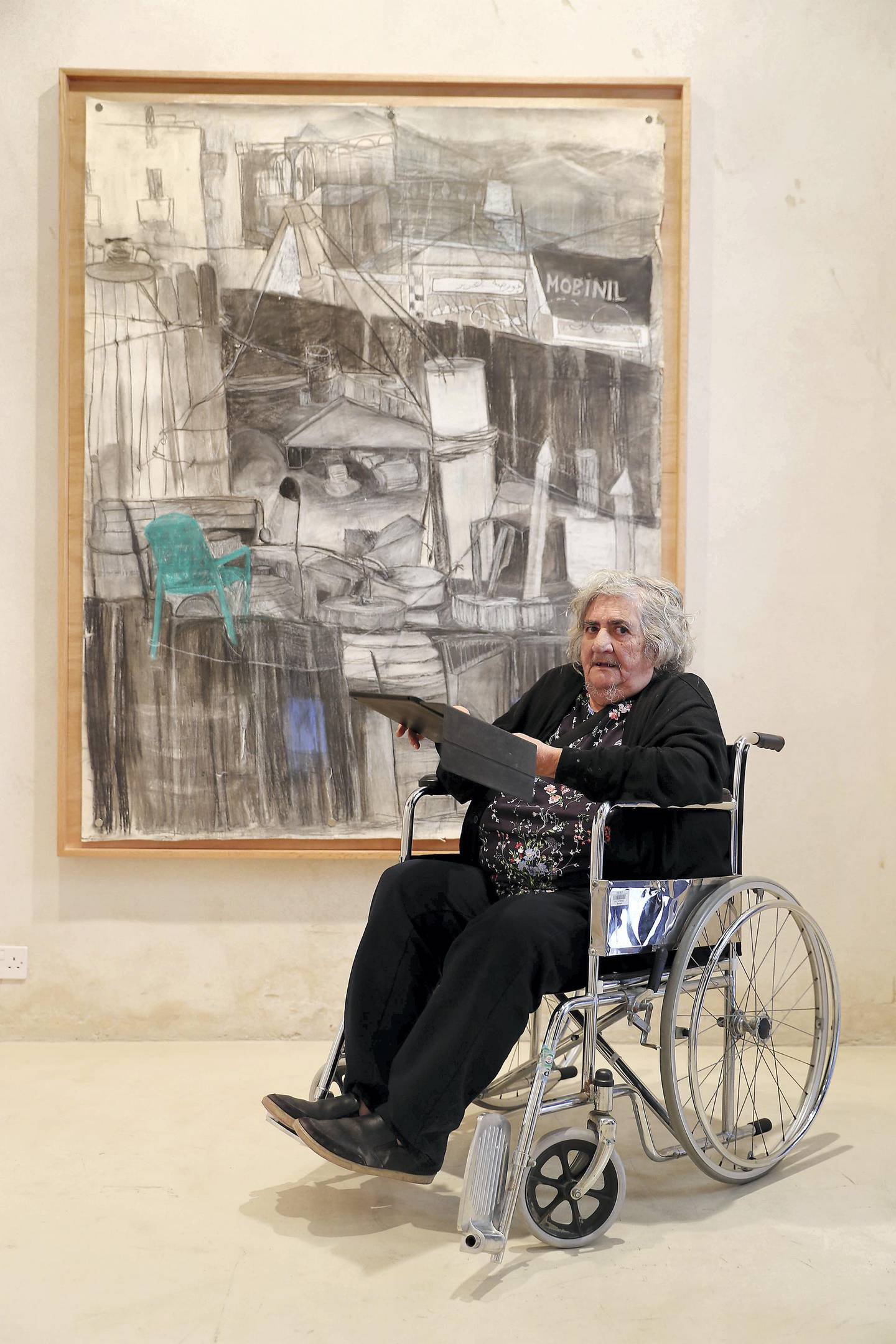 SHARJAH , UNITED ARAB EMIRATES , MARCH 15  – 2017 :- Anna Boghiguian , artist with her work during the opening of her spring exhibition at the Bait Al Serkal in Al Mareija area in Sharjah. ( Pawan Singh / The National ) For Arts & Life. Story by Melissa