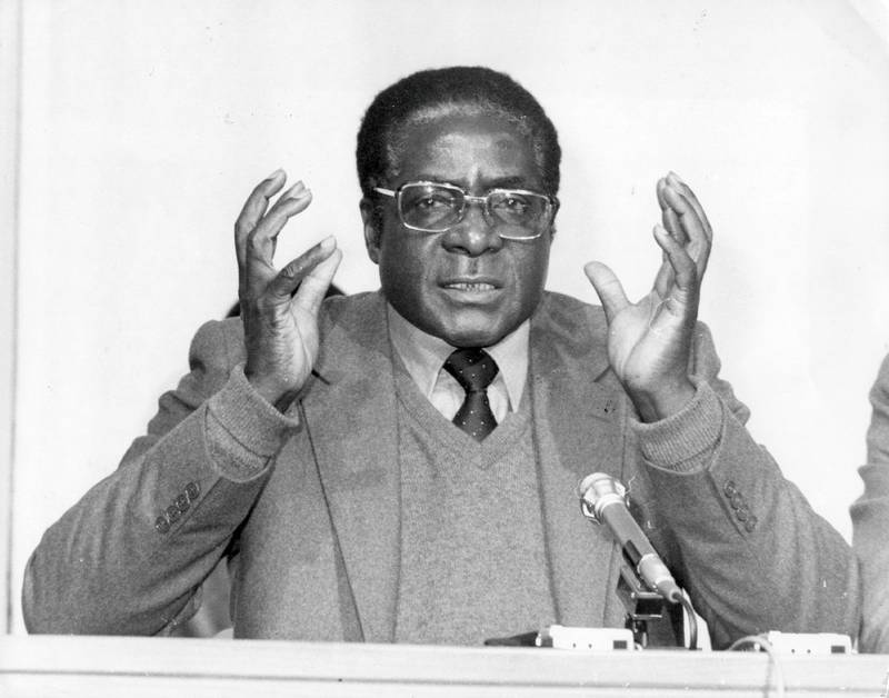 4th March 1980:  Robert Gabriel Mugabe, first prime minister of independent Zimbabwe, speaks at a press conference.  (Photo by Keystone/Getty Images)