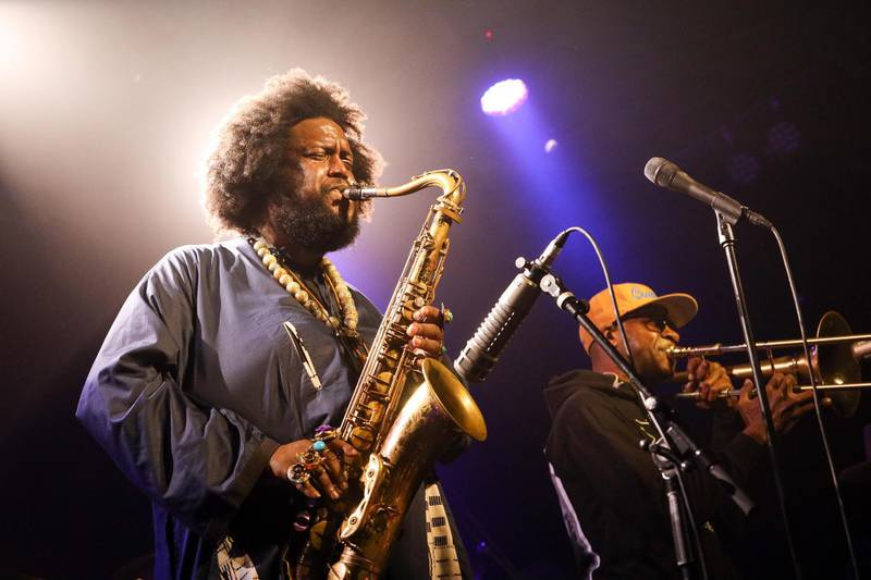 AUCKLAND, NEW ZEALAND - OCTOBER 10: Kamasi Washington performs at the Powerstation on October 10, 2019 in Auckland, New Zealand. (Photo by Dave Simpson/WireImage/Getty Images)