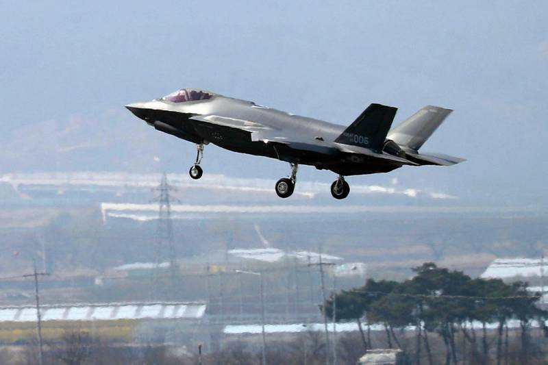 """FILE - In this March 29, 2019, photo, a U.S. F-35A fighter jet prepares to land at Chungju Air Base in Chungju, South Korea. The White House says Turkey can no longer be part of the American F-35 fighter jet program. In a written statement, the White House said Wednesday that Turkey's decision to buy the Russian S-400 air defense system """"renders its continued involvement with the F-35 impossible."""" (Kang Jong-min/Newsis via AP)"""