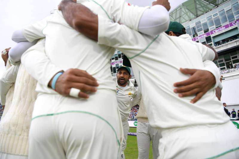 LEEDS, ENGLAND - JUNE 03:  Pakistan captain Sarfraz Ahmed speaks to his team in the huddle ahead of day three of the 2nd NatWest Test match between England and Pakistan at Headingley on June 3, 2018 in Leeds, England.  (Photo by Gareth Copley/Getty Images)