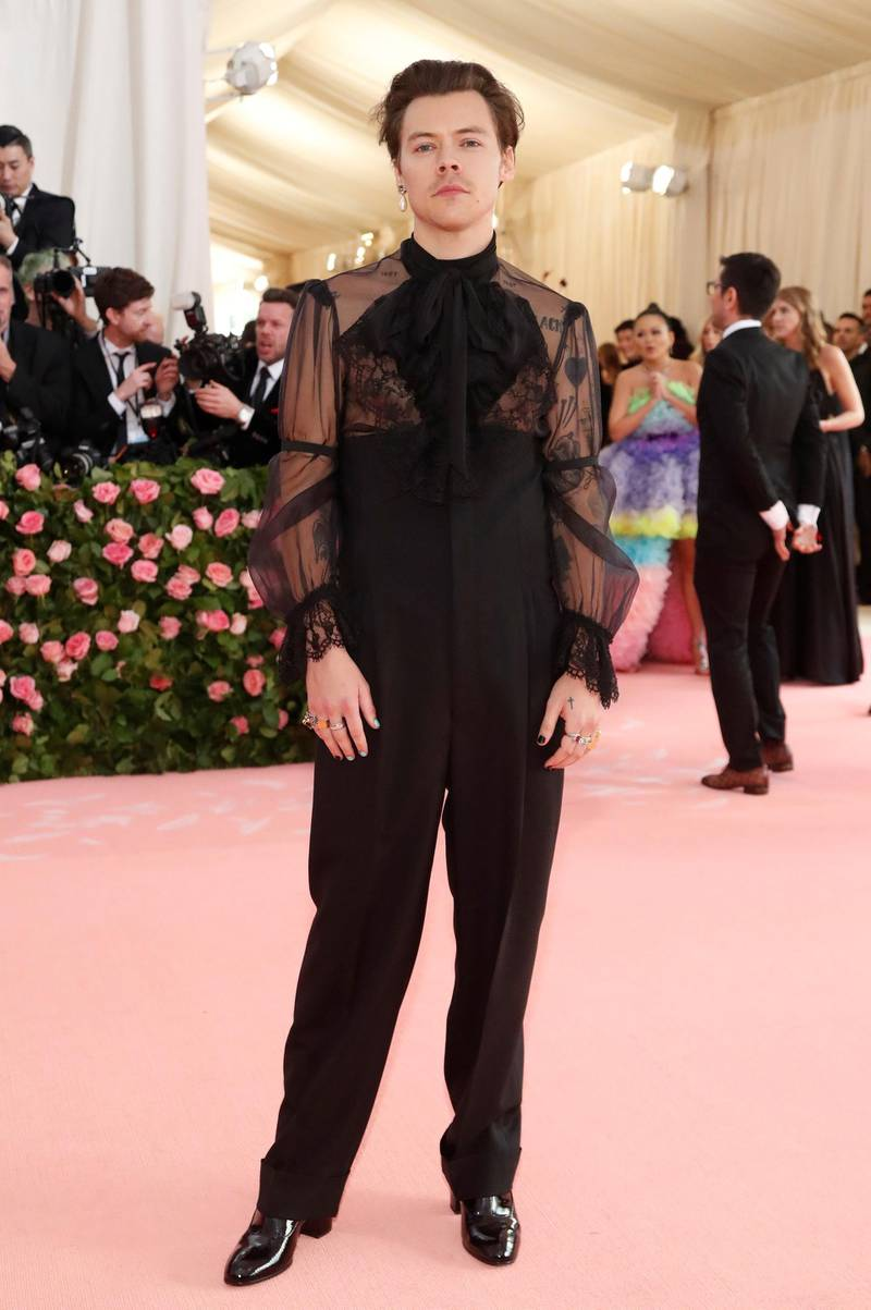 FILE PHOTO: Metropolitan Museum of Art Costume Institute Gala - Met Gala-Camp: Notes on Fashion - Arrivals- New York City, U.S. - May 6, 2019 - Harry Styles. REUTERS/Mario Anzuoni/File Photo