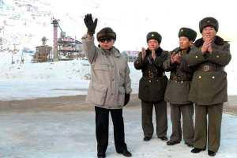 This undated picture released by North Korea's official Korean Central News Agency on January 4, 2010 shows North Korean leader Kim Jong Il inspecting the construction sites of the Huichon Power Station in North Pyongan province.   AFP PHOTO / HO / KCNA via KNS