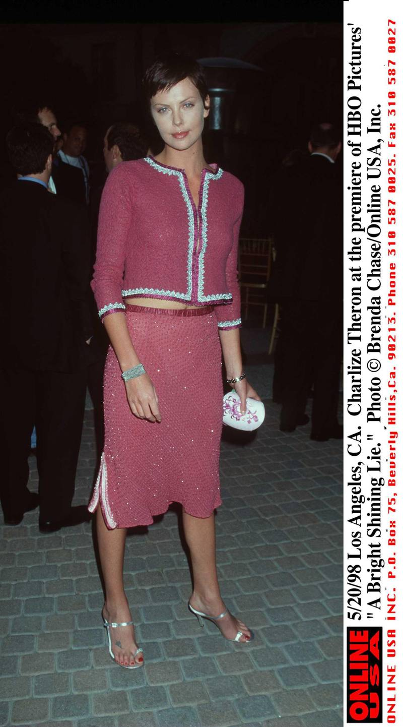 """375565 01: 5/20/98 Los Angeles, CA. Charlize Theron at the premiere of HBO Pictures'' """"A Bright Shining Lie."""""""