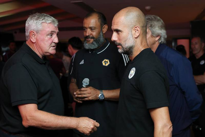 SHANGHAI, CHINA - JULY 19: Manager of Manchester City FC Pep Guardiola, Nuno Espirito Santo, Manager of Wolverhampton Wanderers, head coach Manuel Pellegrini of West Ham United and Manager of Newcastle United F.C. Steve Bruce attends cocktail reception to celebrate the Premier League Asia Trophy, the youth tournament and showcase the wider football development work in China during the Premier League Asia Trophy on July 19, 2019 in Shanghai, China.  (Photo by Lintao Zhang/Getty Images for Premier League)