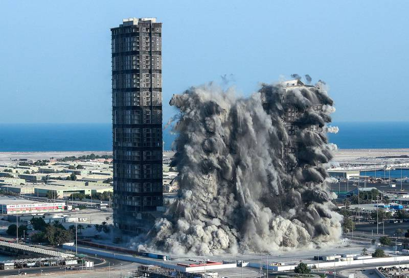Abu Dhabi, United Arab Emirates, November 27, 2020.  Mina Zayed Plaza demolition Friday morning, Abu Dhabi.  Victor Besa/The NationalSection:  National News