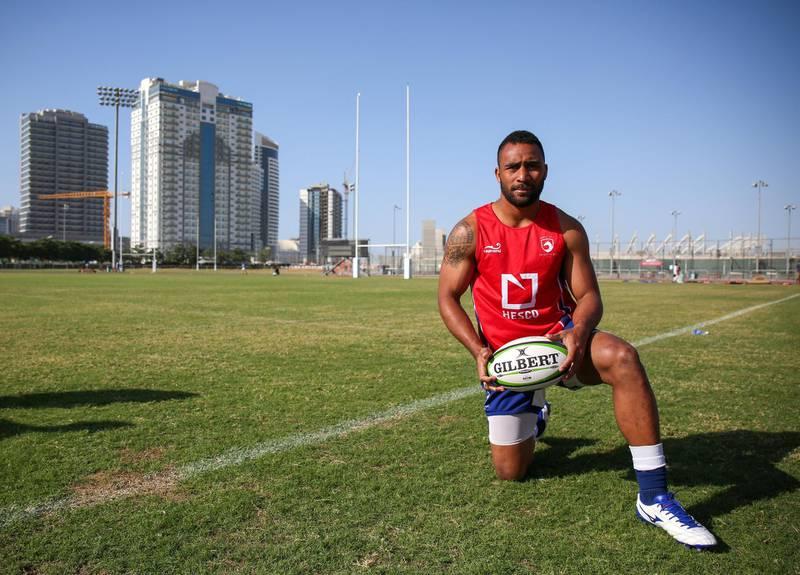 November 25, 2017.   Rugby match between Fiji  VS. Jebel Ali Dragons at the Dubai Sports City.  Saki Naisau of the Jebel Ali Dragons.Victor Besa for The NationalSportsReporter:  Paul Radley