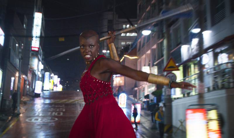 """This image released by Disney shows Danai Gurira in a scene from Marvel Studios' """"Black Panther.""""  Gurira says the representation of women in """"Black Panther"""" is important for young girls to see. The film features a number of powerful female leads, including Gurira as the head of a special forces unit, Lupita Nyong'o as a spy, Angela Bassett as the Queen Mother and newcomer Letitia Wright as a scientist and inventor. (Marvel Studios-Disney via AP)"""