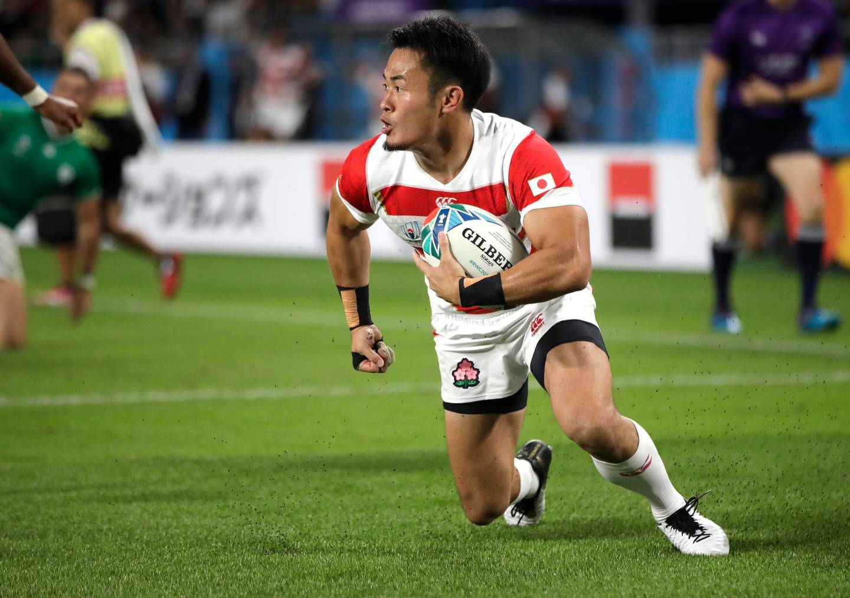 Japan's Kenki Fukuoka reacts after scoring a try during the Rugby World Cup Pool A game at Shizuoka Stadium Ecopa between Japan and Ireland in Shizuoka, Japan, Saturday, Sept. 28, 2019. (AP Photo/Jae Hong)