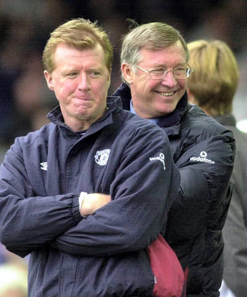 14  Oct 2000:  Sir Alex Ferguson and Steve McClaren of Manchester United watch as their team beat Leicester City 3-0 during the Leicester City v Manchester United FA Carling Premiership match at Filbert Street, Leicester. Mandatory Credit: Ross Kinnaird/ALLSPORT