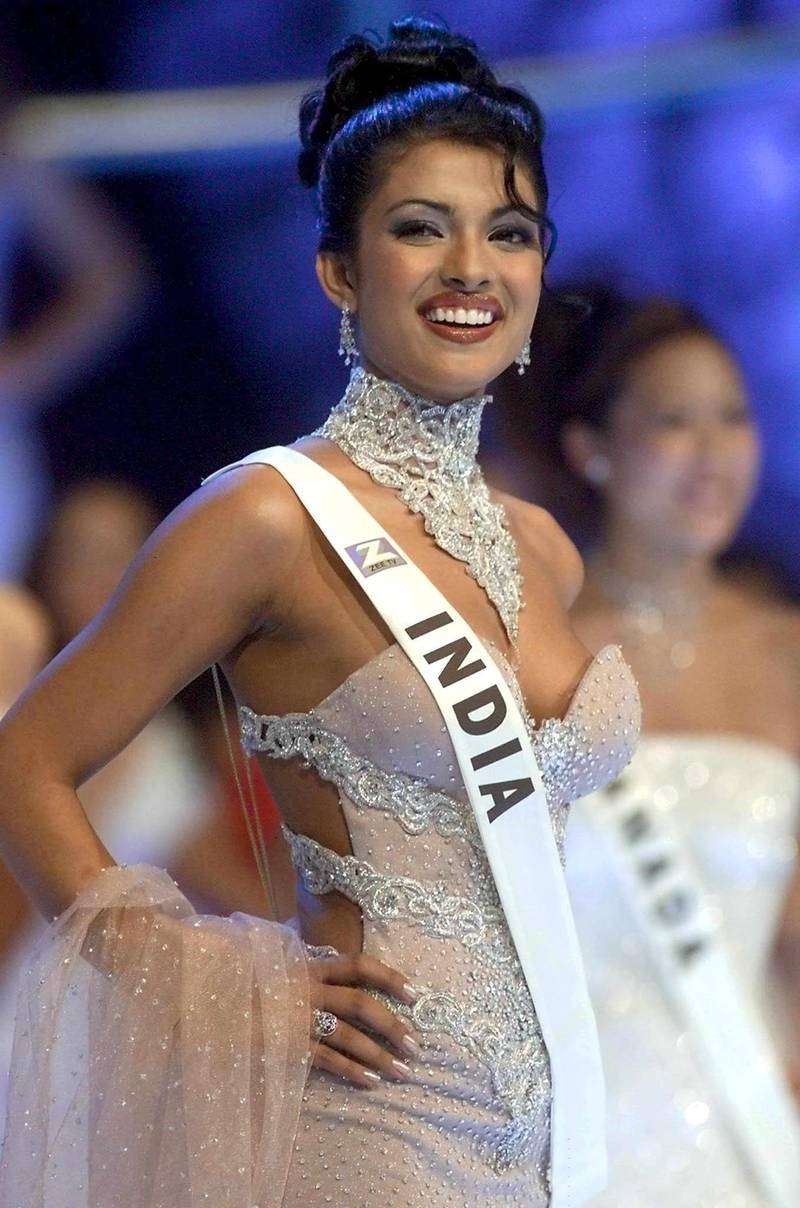 MWD31 - 20001130 - LONDON, UNITED KINGDOM: 18-year-old Priyanka Chopra of India poses on stage during the Miss World final at the Millenium Dome in London, Thursday 30 November 2000. Chopra won the contest. EPA PHOTO EPA/GERRY PENNY