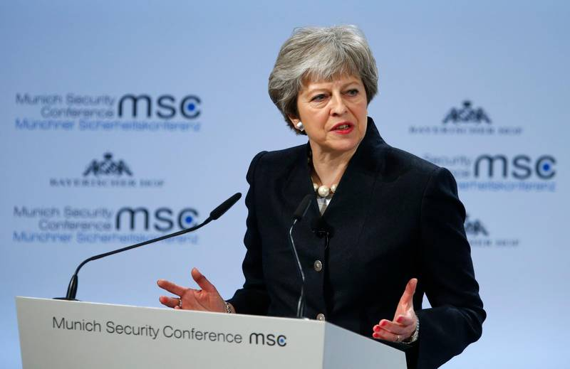 Britain's Prime Minister Theresa May talks at the Munich Security Conference in Munich, Germany, February 17, 2018. REUTERS/Ralph Orlowski