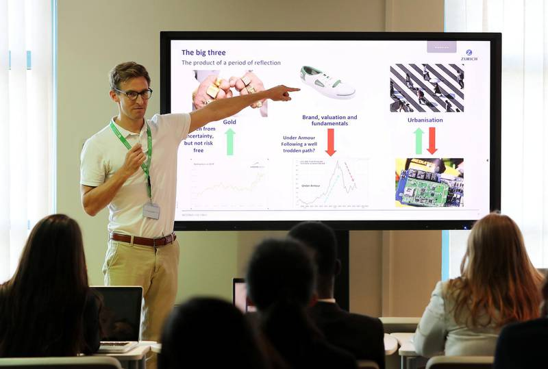 DUBAI, UNITED ARAB EMIRATES , October 30  – 2019 :- John Astrup, Investment Specialist at Zurich in the Middle East speaking at the Investars programme by Zurich held at Gems Wellington International School on Sheikh Zayed road in Dubai. ( Pawan Singh / The National )  For Business. Story by Nada
