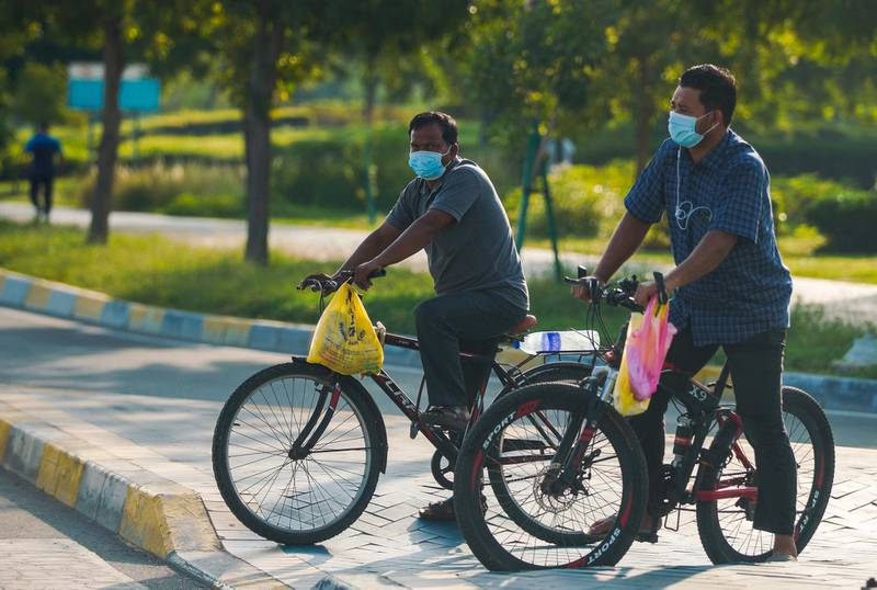 Abu Dhabi, United Arab Emirates, June 24, 2020.   FOR:  Standalone / Stock Images-- Abu Dhabi resdents on their bikes along the corniche during the Covid-19 pandemic.Victor Besa  / The NationalSection:  NAReporter:  none