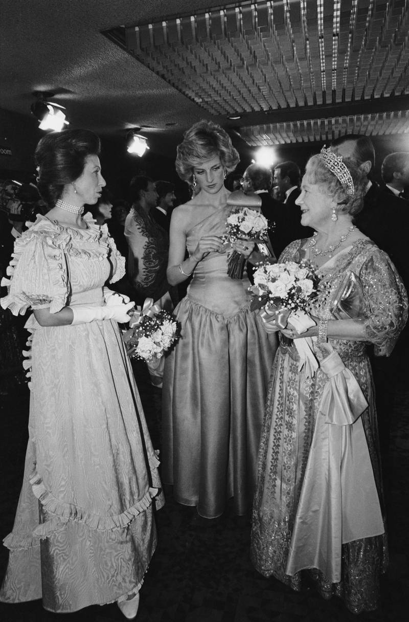 Princess Anne, Princess Diana (!961 - 1997) and The Queen Mother (1900 - 2002), wearing evening gowns, at the premiere of David Lean's film 'A Passage To India', London, UK, 18th March 1985. (Photo by Morrison/Daily Express/Hulton Archive/Getty Images)