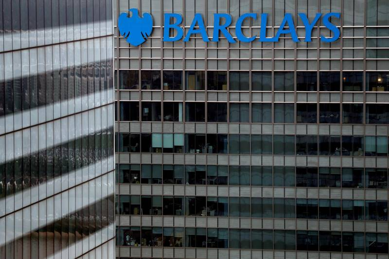FILE PHOTO: A Barclays bank building at Canary Wharf in London, Britain May 17, 2017. REUTERS/Stefan Wermuth/File Photo