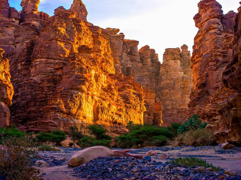 Rock cliffs and valley, near Tabuk, Saudi Arabia. Getty Images