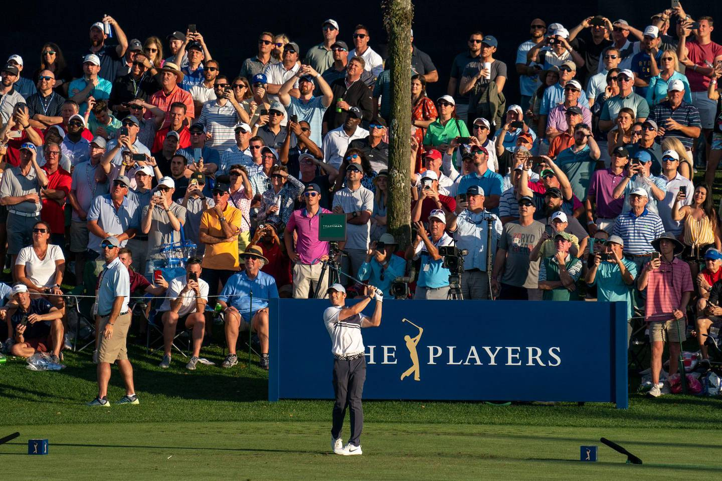March 12, 2020; Ponte Vedra Beach, Florida, USA; Rory McIlroy hits his tee shot on the 17th hole during the first round of the 2020 edition of The Players Championship golf tournament at TPC Sawgrass - Stadium Course. Mandatory Credit: Kyle Terada-USA TODAY Sports