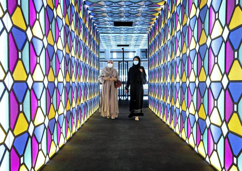 Abu Dhabi, United Arab Emirates, April 4, 2021.   A preview or first look at three new exhibitions at the Cultural Foundation. Murals of History.  The Arabian movement through the eyes of the artists exhibition. Victor Besa/The NationalSection:  ACReporter:  Alexandra Chaves