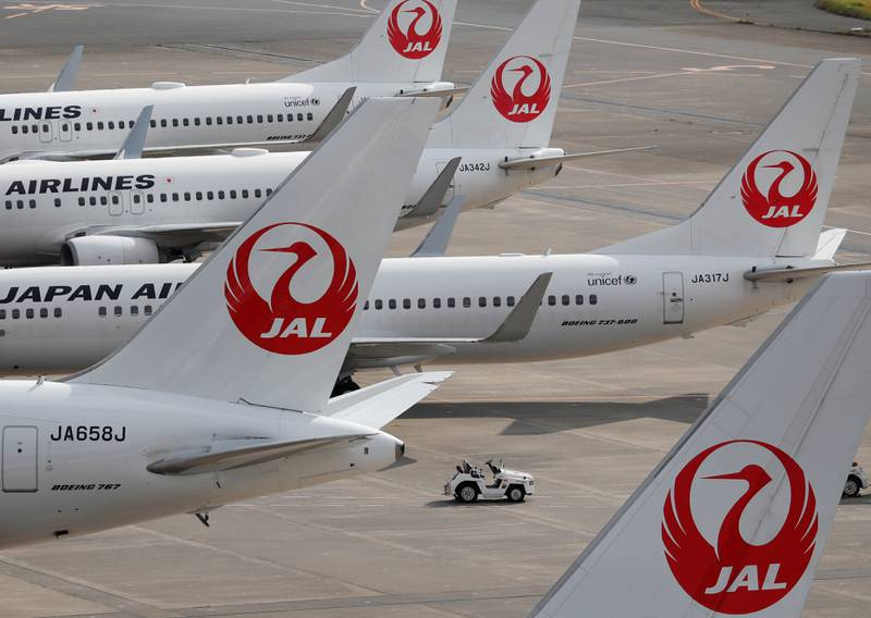 FILE PHOTO: Japan Airlines' (JAL) airplanes are seen, amid the coronavirus disease (COVID-19) outbreak, at the Tokyo International Airport, commonly known as Haneda Airport in Tokyo, Japan October 30, 2020. REUTERS/Issei Kato/File Photo