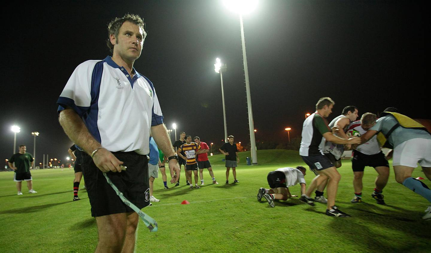 Sept 6, 2011 (Abu Dhabi) Chris Davies the new director of rugby for Abu Dhabi Harlequins leads a practice session at the rugby fields at Zayed Sports City in Abu Dhabi September 6, 2011. (Sammy Dallal / The National) *** Local Caption ***  sd-090711-rugby-11.jpg