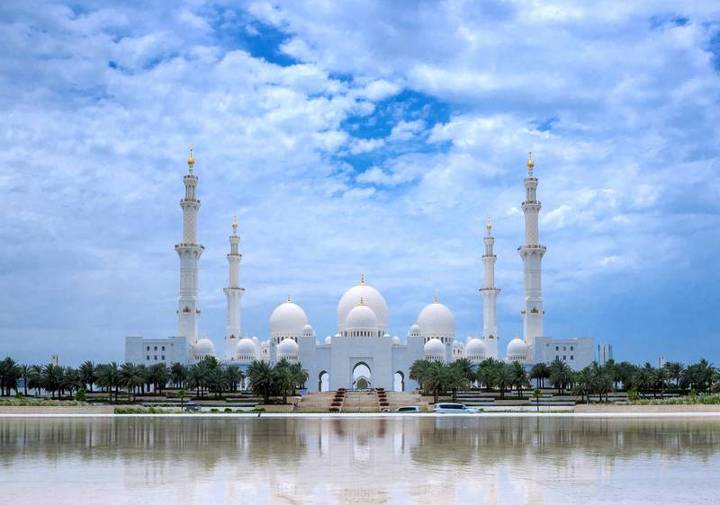 The view of the Sheikh Zayed Grand Mosque from Wahat Al Karama on a cloudy day in Abu Dhabi on the 29th of April, 2021. Victor Besa / The National.