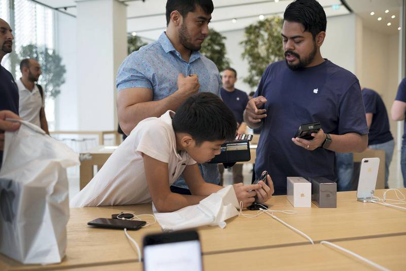 23.09.17. iPhone 8 launch in Dubai Mall Saturday morning. People has waited in line since early morning and others has pre ordered a phone online.   Anna Nielsen For The National.