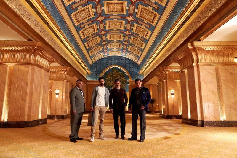 Sharat Saxena, Saqib Saleem, Anil Kapoor and Salman Khan on location at Emirates Palace for 'Race 3'. Courtesy twofour54