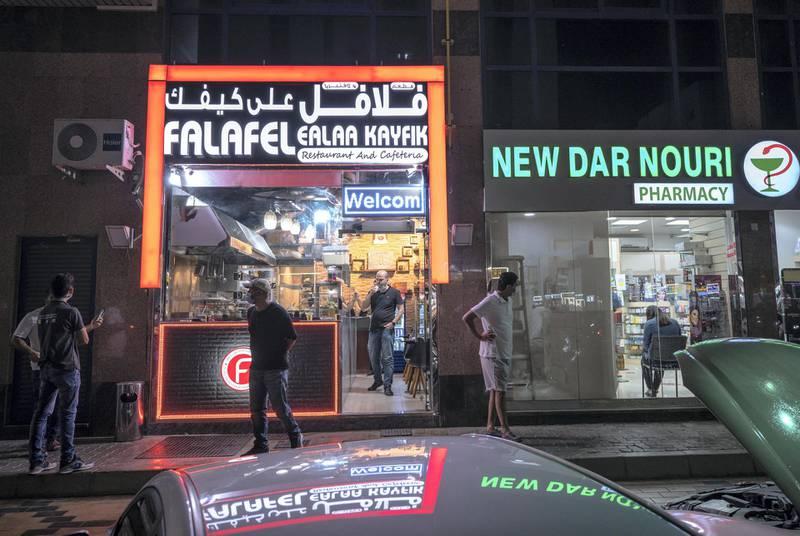 Abu Dhabi, United Arab Emirates, October  11, 2020.  Khalidiya by night article by Saeed Saeed on restaurants, café's on Al Yahar Street.  The Felafel Ealaa Kayfik Restaurant and Café.Victor Besa/The NationalSection:  NAReporter:  Saeed Saeed
