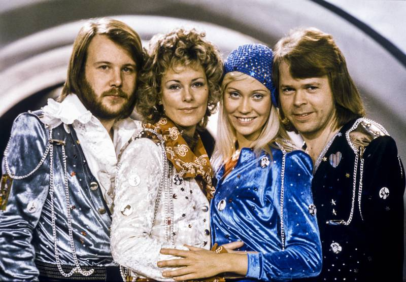 """FILE - In this Feb. 9, 1974 file photo Swedish pop group Abba, from left: Benny Andersson, Anni-Frid Lyngstad, Agnetha Faltskog and Bjorn Ulvaeus posing after winning the Swedish branch of the Eurovision Song Contest with their song """"Waterloo"""". The members of ABBA announced Friday April 27, 2018 that they have recorded new material for the first time in 35 years. (Olle Lindeborg/TT NEWS AGENCY via AP)"""