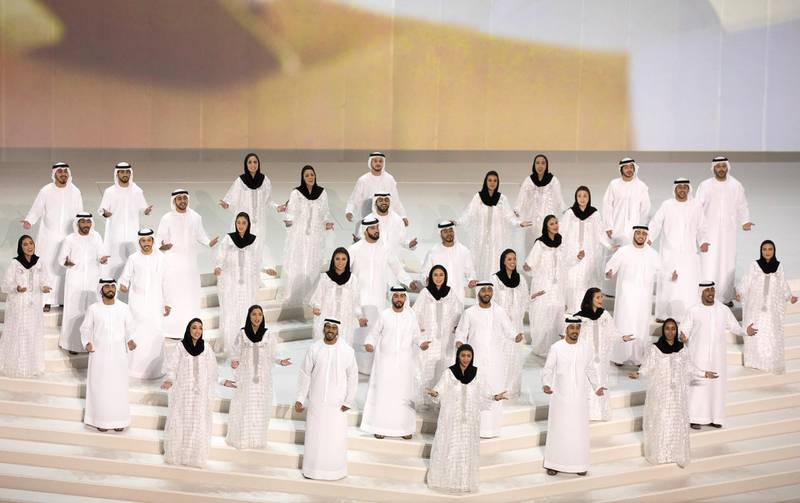 ABU DHABI, UNITED ARAB EMIRATES - February 26, 2018: Performers participate in the inauguration of The Founder's Memorial.  (  Hamad Al Mansoori for The Crown Prince Court - Abu Dhabi ) ---