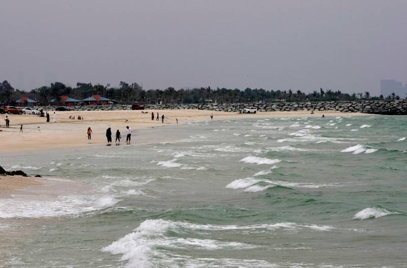 Sharjah, United Arab Emirates - March 25, 2013.   Rough waters and dark skies at Sharjah beach shores.  ( Jeffrey E Biteng / The National )