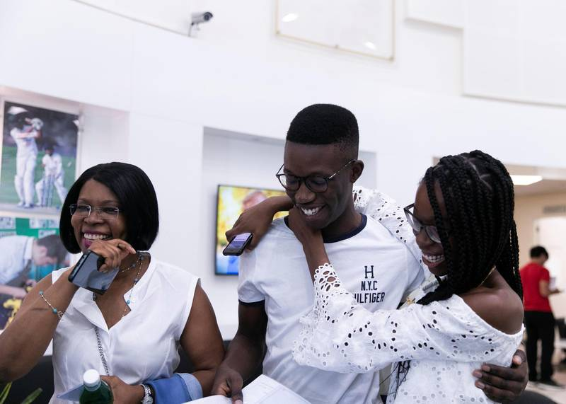 DUBAI, UNITED ARAB EMIRATES. 15 AUGUST 2019. Kazal Oshodi reacts to his top performance in A-Level at Jumeirah College school.(Photo: Reem Mohammed/The National)Reporter:Section: