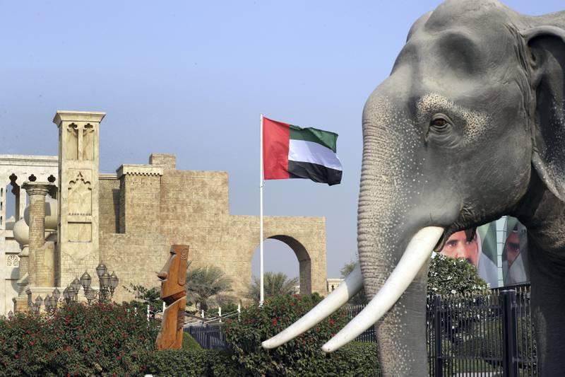 Dubai, United Arab Emirates - November 1st, 2017: UAE flags up at Global village, Flag day. Wednesday, November 1st, 2017 at Global Village, Dubai. Chris Whiteoak / The National