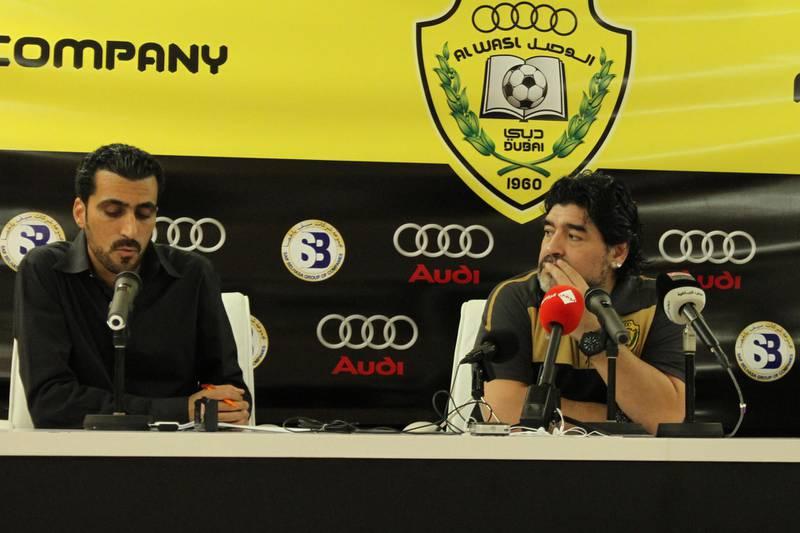 Tariq Al-Sharabi and Diego Maradona at pre match press conference. Courtesy Tariq Al-Sharabi