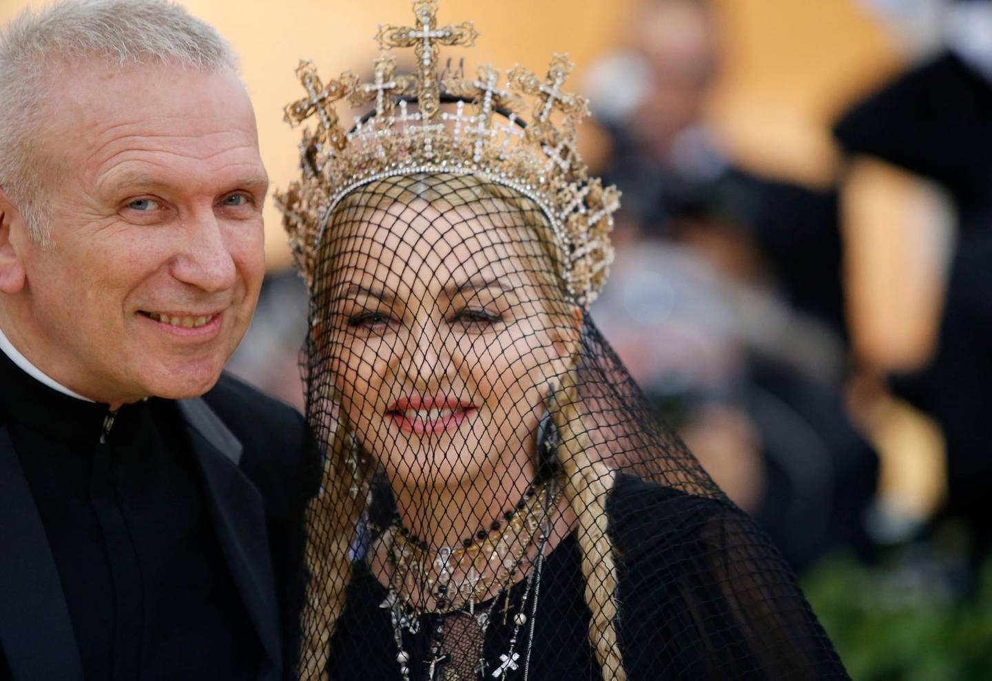 """Designer Jean Paul Gaultier and Madonna arrive at the Metropolitan Museum of Art Costume Institute Gala (Met Gala) to celebrate the opening of """"Heavenly Bodies: Fashion and the Catholic Imagination"""" in the Manhattan borough of New York, U.S., May 7, 2018. REUTERS/Eduardo Munoz"""