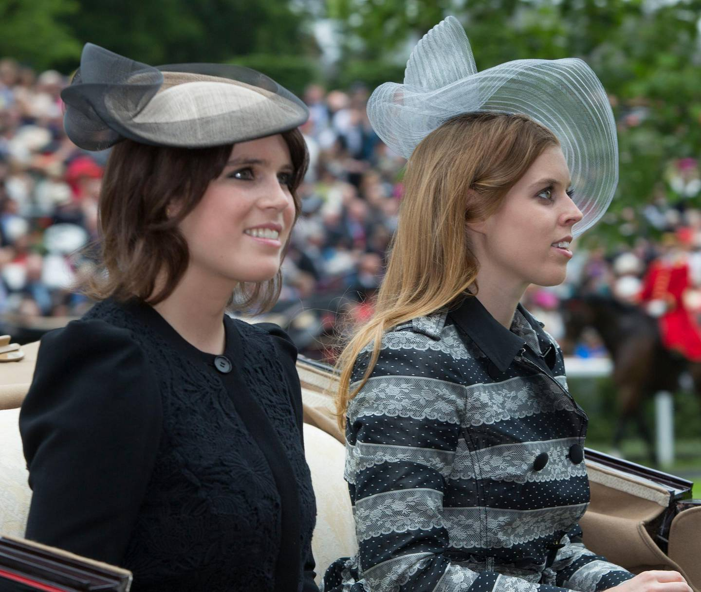 ASCOT -UK - 18 June 2013: Members of the Royal Family join HM Queen Elizabeth for the first day of racing at Royal Ascot in Berkshire. The Queen arrived by carriage with Prince Charles and Camilla, Duchess of Cornwall. Princess Eugenie and Princess Beatrice (rt) arrives by carriage.Photograph by Ian Jones *** Local Caption ***  IJP-17-6-13-Royal-Ascot-20.jpg IJP-17-6-13-Royal-Ascot-20_4.jpg