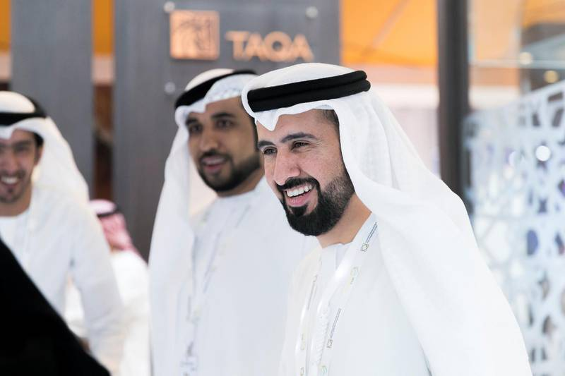 ABU DHABI, UNITED ARAB EMIRATES - JANUARY 14, 2019.  AbdulAziz Al Obaidli, Vice President for the UAE, GCC and India, Taqa, at the World Future Energy Summit (WFES) Expo in ADNEC during Abu Dhabi Sustainability Week (ADSW).  Under the theme of ���Industry Convergence: Accelerating Sustainable Development���, ADSW 2019 will explore how industries are responding to the digital transformation underway in the global economy, which in turn is giving rise to new opportunities to address global sustainability challenges.  (Photo by Reem Mohammed/The National)  Reporter:  Section:  NA