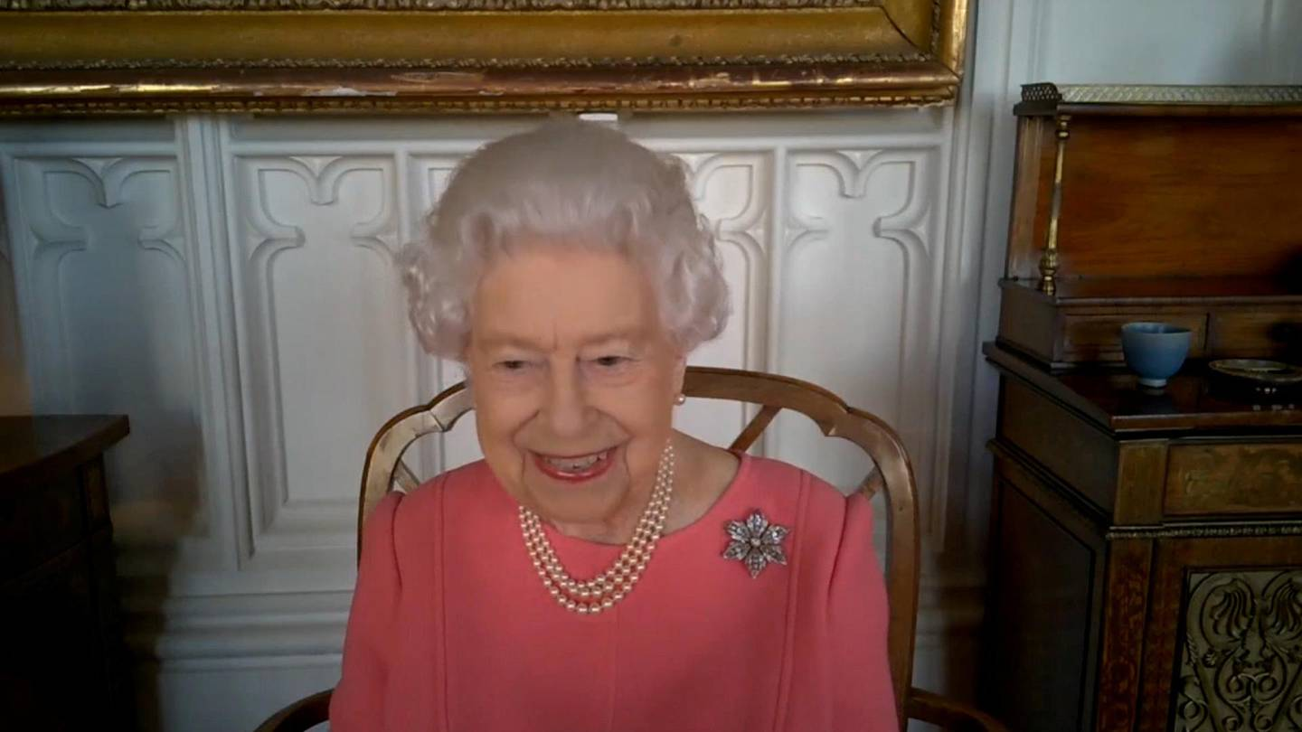 Britain's Queen Elizabeth speaks via video call to health leaders delivering the COVID-19 vaccine across England, Scotland, Wales and Northern Ireland, London, Britain February 25, 2021. Buckingham Palace/via REUTERS THIS IMAGE HAS BEEN SUPPLIED BY A THIRD PARTY. MANDATORY CREDIT. NO RESALES. NO ARCHIVES.