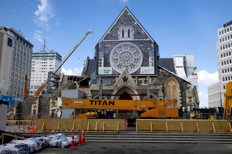 The cathedral nearly ten years later, under repair in Christchurch on February 17, 2021. AFP