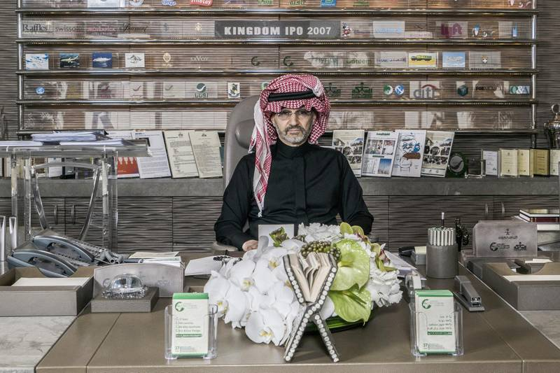 Prince Alwaleed Bin Talal, Saudi billionaire and founder of Kingdom Holding Co., poses for a photograph in the penthouse office of Kingdom Holding Co., following his release from 83 days of detention in the Ritz-Carlton hotel in Riyadh, Saudi Arabia, on Sunday, March 18, 2018. Alwaleed was the most prominent among hundreds of Saudi businessmen, government officials and princes who were swept up in November in what the government called a crackdown on corruption. Photographer: Guy Martin/Bloomberg