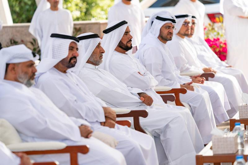 ABU DHABI, UNITED ARAB EMIRATES - March 16, 2020: Guests attend a Sea Palace barza which focused on the UAE's Covid19 response.   ( Mohamed Al Hammadi / Ministry of Presidential Affairs ) ---