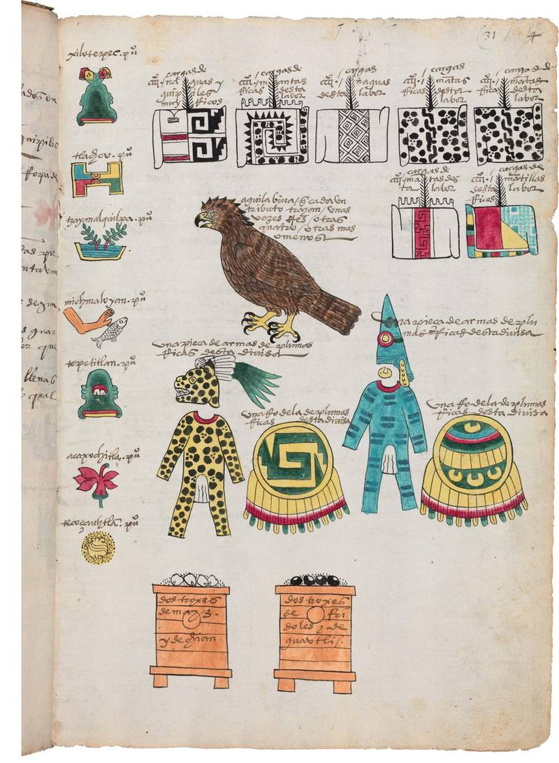 Codex MendozaThe Codex Mendoza is one of the Bodleian Libraries' greatest treasures. Dating from the cusp of colonial rule in Mexico, this codex (or book) shows how translation helped imperial rulers to understand, and communicate with, the populations they controlled. Dating from circa. 1541, the Codex Mendoza was designed as a handbook for Charles V, the Holy Roman Emperor and King of Spain, providing him with the details of his new province. The Mexica picture writing is accompanied by explanations in both the Mexica language, Nahuatl, and Spanish. On the page shown here, the Mexica picture writing shows seven towns (top right) together with the annual tribute they are required to pay to their rulers in Tenochtitlan (shown across the rest of the page). Their tribute included warrior outfits, bins of maize and beans, and a live eagle.Image credit: Bodleian Libraries, University of Oxford