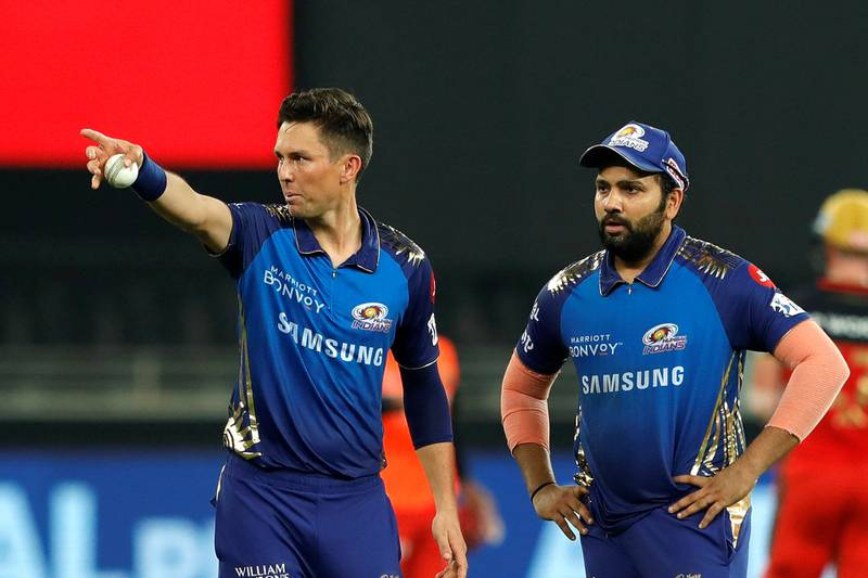 Rohit Sharma captain of Mumbai Indians  and Trent Boult of Mumbai Indians discussing during match 10 of season 13 of the Dream 11 Indian Premier League (IPL) between The Royal Challengers Bangalore and The Mumbai Indians held at the Dubai International Cricket Stadium, Dubai in the United Arab Emirates on the 28th September 2020.  Photo by: Saikat Das  / Sportzpics for BCCI