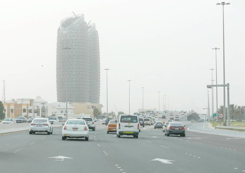 Abu Dhabi, United Arab Emirates, July 21, 2020.     Sandstorm at the Abu Dhabi E10 Highway area.Victor Besa  / The NationalSection: NAFor:  Standalone / Stock