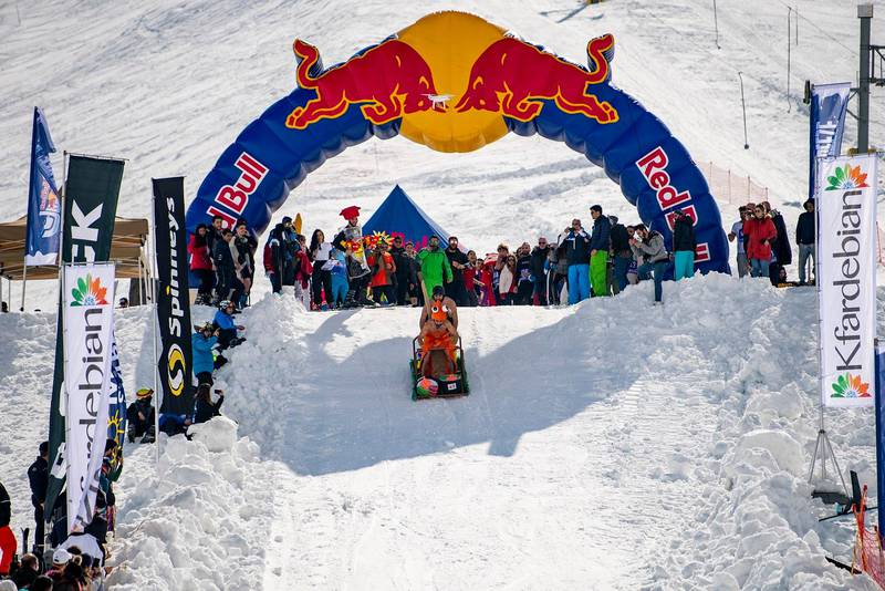 Competitors perform during Red Bull Jump and Freeze at Mzaar Ski Resort, Kfardebian, Lebanon on February 23, 2019 // Akl Yazbeck / Red Bull Content Pool // SI201902250275 // Usage for editorial use only //