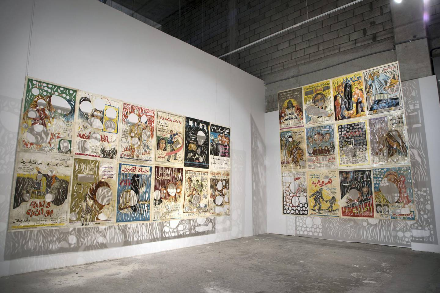 Ayman Yossri Daydban's untitled installation of Egyptian cinema posters from the 1960s, at Refusing to Be Still, part of the 21, 39 Jeddah art events. Courtesy Willy Lowry