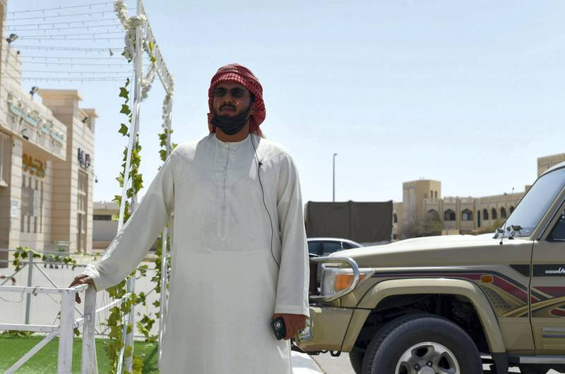 Residents and Heat in Sweihan-AD  Elhadrami Cheikh Saad Al Hashmi, 34 an Emirati runs a camel business, and trainer from Sweihan, on June 9, 2021. Reporter: Haneen Dajani News