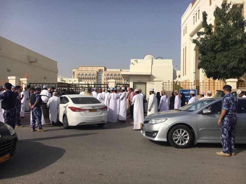 Omani demonstrators at manpower ministry demanding jobs. Photo: Saleh Al-Shaibany