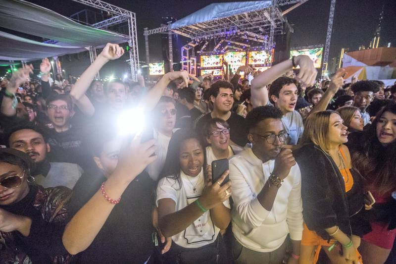 Dubai, United Arab Emirates-  Fans of singer YBN Cordae at Puma stage at the Sole Dubai Festival at D3.  Leslie Pableo for The National for Saeed Saeed's story